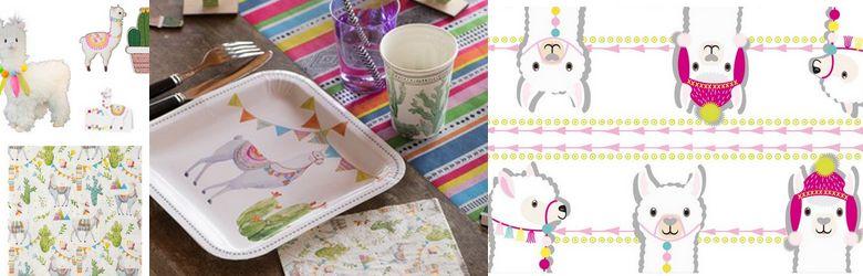 Décor lama pour table d'anniversaire enfants