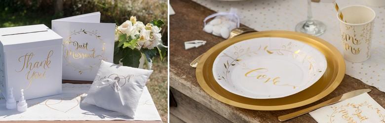 Ecritures en or sur fond blanc pour cette gamme d' articles de décoration de table de mariage