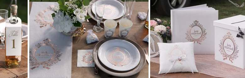 Déco table mariage Just Married rose gold.