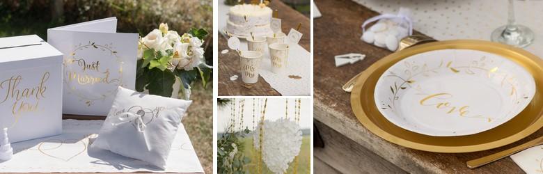 Une belle déco de table de mariage en blanc et or.