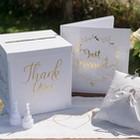 Thème Just Married blanc et or pour votre table de mariage.