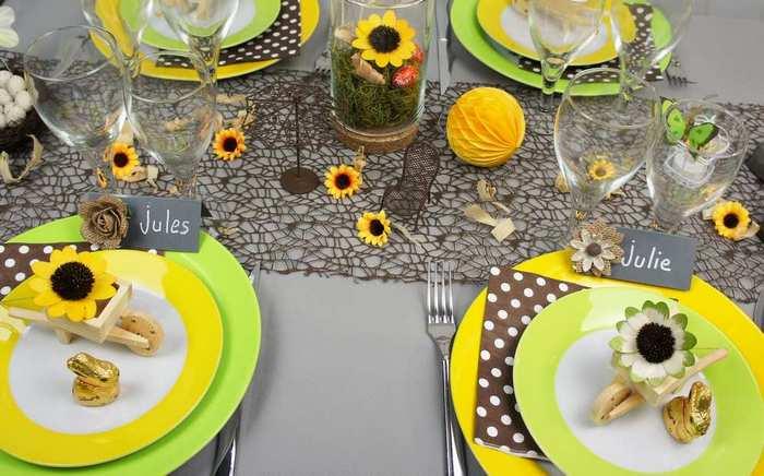 Décoration de table de paques, coloris chocolat, jaune poussin.