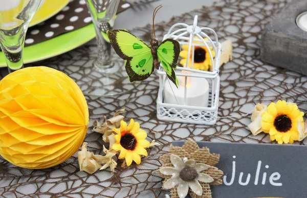 Déco de table de fêtes champêtre et nature