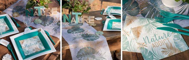 Decoration Table De Fetes Theme Nature Tons Vert Et Bois
