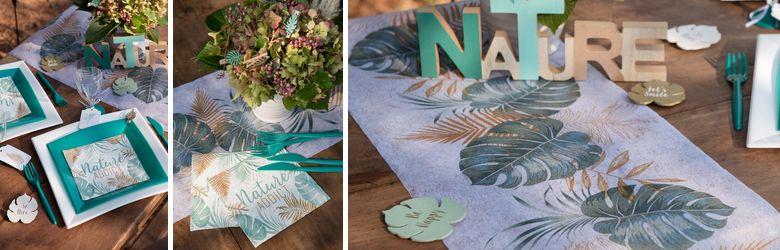 Décor de table de baptême nature et feuillage
