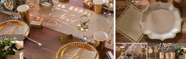 Décoration de table de noël or et naturel.