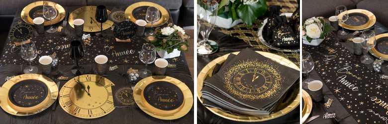 Articles de décoration de table de réveillon  noire et or décor horloge