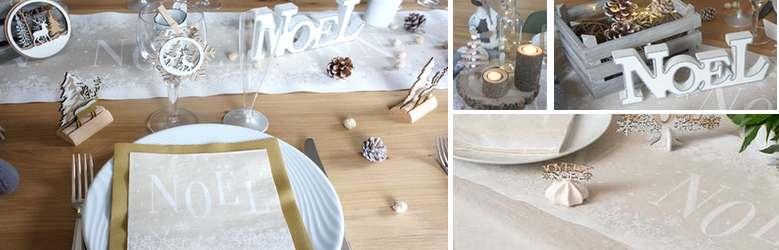 Déco de table de noël naturel et blanc