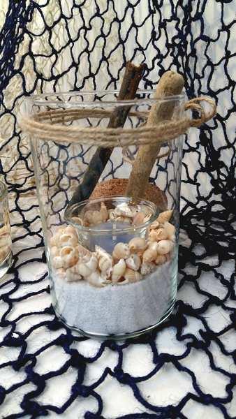 Contenant verre et photophore decor coquillages.