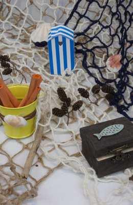 Accessoire de decoration de table theme plage et bord de mer.