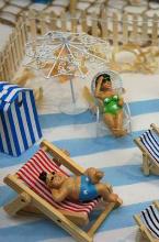 figurines pour decoration de table theme plage et bord de mer.