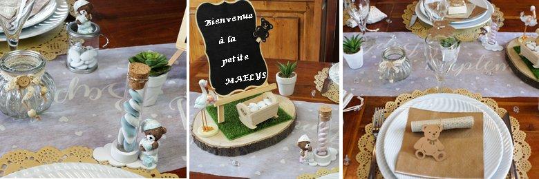 Déco de table baptême petit ourson.
