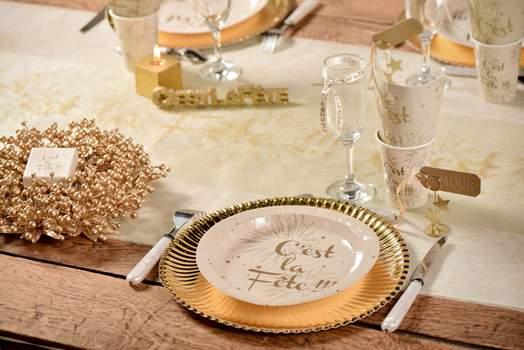 decoration de table de fete or et ivoire