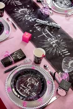decoration de table de fete argent et noire