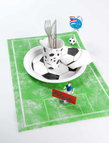 Decoration de fêtes chemin de table terrain de foot.