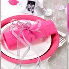 deco de table mariage rose et gris.