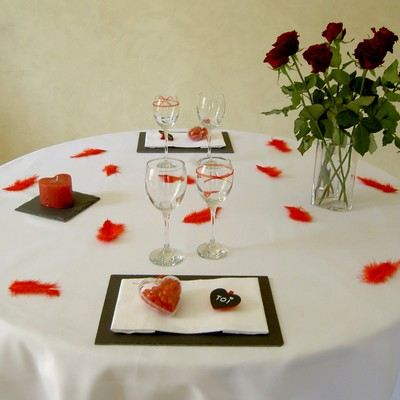 deco de table coeur rouge