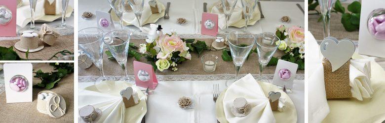 deco de table mariage ecru et rose, toile de jute et dentelle.