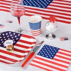 Deco de table theme Amerique, gobelets, assiettes, chemin de table..