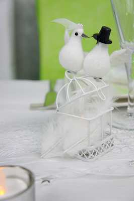 couple de colombes et mini cage pour decoration de table.