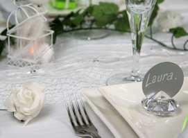 marque place diamant, mini rose et mini cage pour deco de table