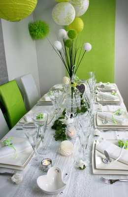 deco de table et de salle vert anis et blanc | 1001 deco table