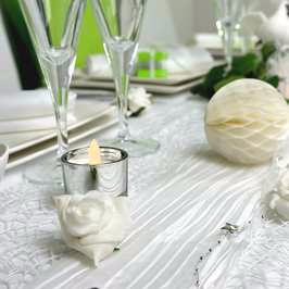 chemin de table blanc, photophore argent pour deco de table