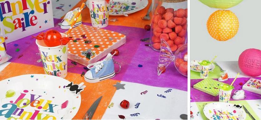 deco de table anniversaire multicolore à pois | 1001 deco table