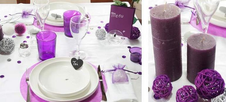decoration de table chic en blanc et violet  | 1001 deco table