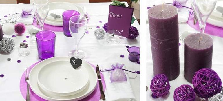 Déco de table de fêtes en blanc et violet  | 1001 deco table