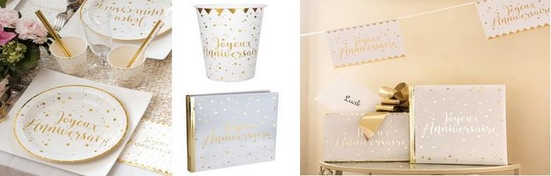 Vaisselle jetable joyeux anniversaire blanc et or
