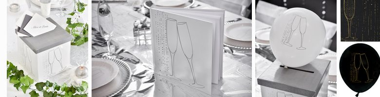 urne, livre d'or, ballons anniversaire theme champagne | 1001 deco table