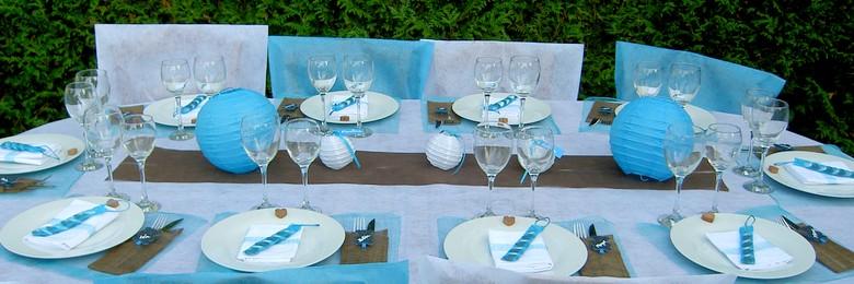 Decoration de table bapteme bleu turquoise et blanc.