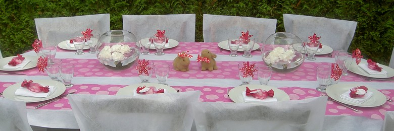 Decoration de table de bapteme fille.