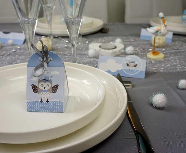Décoration de table baptême garçon hibou bleu et blanc