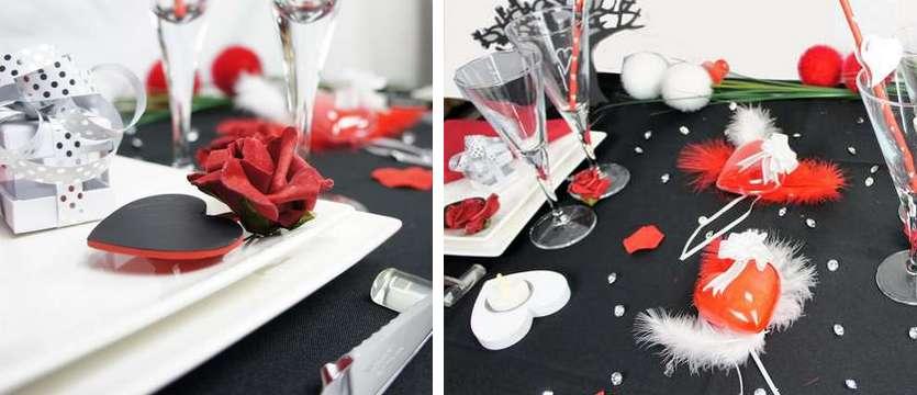 Deco de table de fêtes coeurs et fleurs en rouge et noir