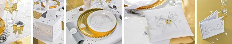 Articles de décoration de table mariage en blanc et or décor alliances.