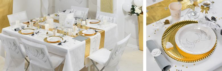 Table de mariage décor alliances et colombes.