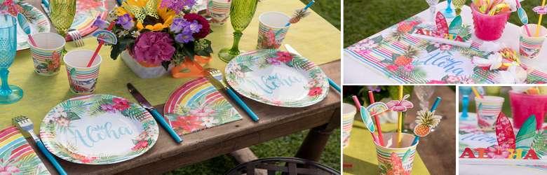 Déco de table fêtes en famille décor tropical Aloha