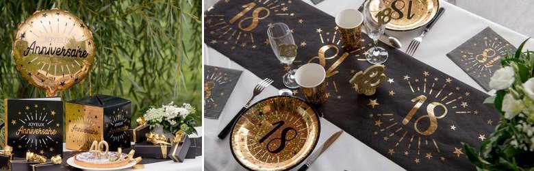 Déco de table anniversaire par âges noir et or métallisé