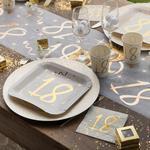 Décoration de table anniversaire par âge coloris or métallisé
