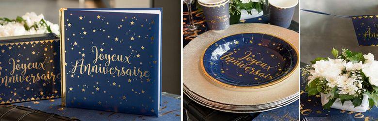 Décoration de table d'anniversaire en bleu et or