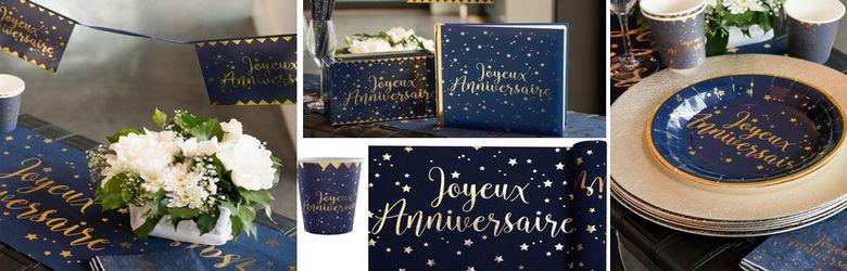 Tout pour une belle déco de table Joyeux Anniversaire bleu marine et or.