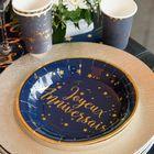 Vaisselle jetable joyeux anniversaire bleu et or.