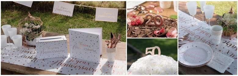 Idée de décoration de table Joyeux Anniversaire rose gold
