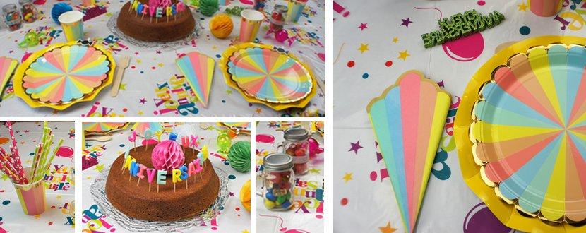 Vaisselle jetable et accessoires pour une déco de table multicolore.