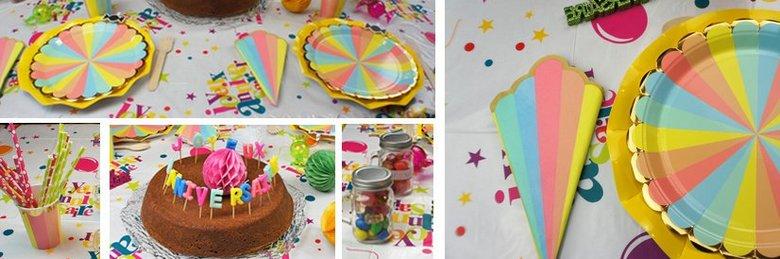 Déco de table anniversaire enfants coloris pastel multicolore
