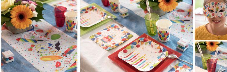 Table anniversaire décor arlequin multicolore