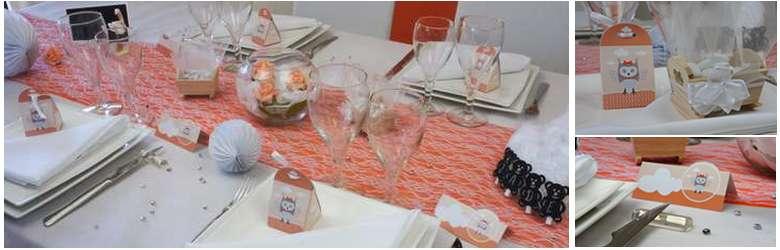 Tout pour la déco de table baptême fille couleur abricot.