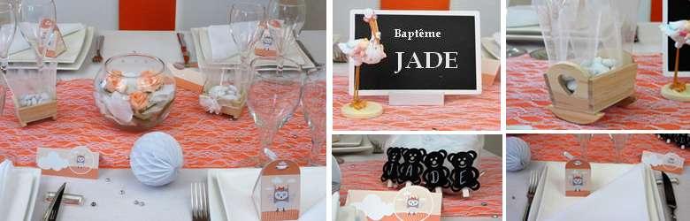 deco de table bapteme fille couleur abricot | 1001 deco table